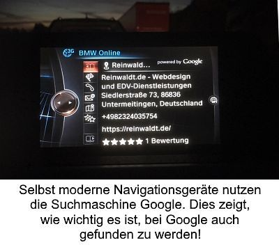 Google findet Reinwaldt.de im Navi